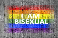 I am BISEXUAL and LGBT flag painted on background texture gray concrete. Close stock images