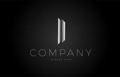 I black white silver letter logo design icon alphabet 3d Royalty Free Stock Photos