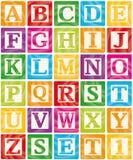 I blocchetti del bambino hanno impostato 1 di 3 - l'alfabeto delle lettere maiuscole Fotografia Stock