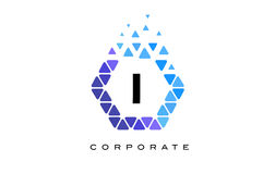 I Blue Hexagon Letter Logo with Triangles. I Blue Hexagon Letter Logo Design with Blue Mosaic Triangles Pattern royalty free illustration