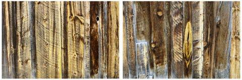 I bordi di legno della parete del pannello hanno macchiato il collage del fondo Immagine Stock