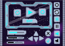 I bottoni dell'interfaccia dell'interfaccia utente di progettazione del gioco dell'interfaccia hanno messo per il ui dei giochi o Immagini Stock Libere da Diritti