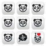 I bottoni dell'orso di panda hanno messo - felice, triste, arrabbiato isolati su bianco Fotografia Stock
