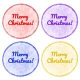 I bottoni di Natale hanno messo con il confine luminoso isolato su bianco Fotografie Stock Libere da Diritti