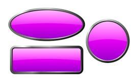 Bottoni di vetro porpora Fotografia Stock Libera da Diritti