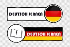 I bottoni tedeschi del cerchio e del quadrato imparano il tedesco - illustrazione di vettore con la bandiera ed il libro tedeschi Immagini Stock Libere da Diritti