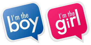 I am the boy, I am the girl labels. On white background Stock Images