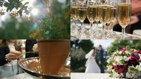 4 i 1: Bröllopbegrepp - bankett tilldelad till bröllopet och förälskelsen arkivfilmer