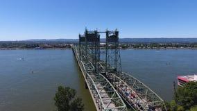 I-5 Bridge Between Portland Oregon and Vancouver Washington. Aerial shot by drone of the bridge over the Columbia River and Vancouver/Portland stock image
