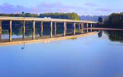 I-205 Bridge and Reflection. Reflection of Glenn Jackson Memorial Bridge connecting Oregon to Government Island and then on to Washington state, spanning the Royalty Free Stock Photo
