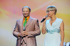 I.Bronevitskaya and Y.Galtsev at anniversary concert of E.Piecha Stock Photography