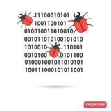 I bug distruggono l'icona piana di colore di codice binario Immagini Stock