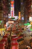 I bus hanno portato la gente osservare i fuochi d'artificio. Hong Kong Fotografia Stock