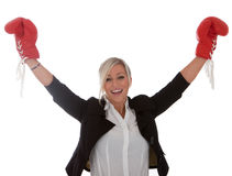 I businesswoman has won the fight Royalty Free Stock Photography