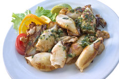I calamari sono sul piatto Immagini Stock