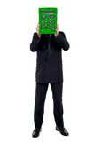 I am a calculator, use me!. Well dressed gentleman hiding his face behind a calculator. Isolated against white background vector illustration
