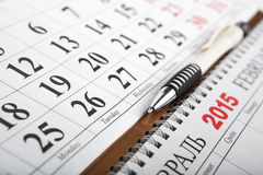 I calendari hanno messo sulla tavola Immagine Stock