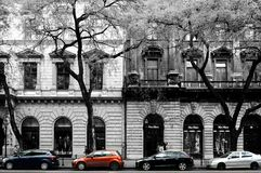 Rhythm and Contrast in Budapest. I came across this perfect scene of buildings and cars rhythm and contrast Royalty Free Stock Photos