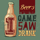 I Came, I Saw, I Drank. Typographic retro grunge humorous beer poster. Vector illustration. Stock Photos