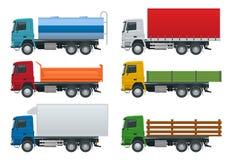 I camion piani hanno messo i veicoli realistici isolati su fondo bianco Autocisterna del petrolio, autocarro con cassone ribaltab illustrazione vettoriale