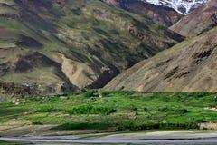 I campi e gli alberi verdi vicino ad un paesino di montagna, situato vicino ad un'alta scogliera, sopra il picco è un ghiacciaio  Fotografie Stock