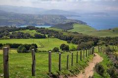 I campi verdi su Biscaglia costeggiano vicino a Gorliz, il Paese Basco, Spagna Immagini Stock
