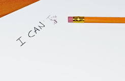 I can. Written on white paper Stock Photo
