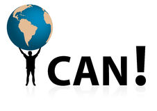 I can. Conceptual I CAN illustration with man holding globe with his hands vector illustration
