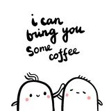 I can bring you some coffee hand drawn illustration with couple of marshmallows royalty free illustration