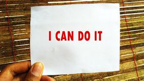 I can do it. Quote Background.Inspiring Creative Motivation.Quotes of the day. I can do it. Inspiring Creative Motivation. Quote Background. Quote of the day in royalty free stock photography