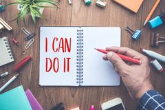 I CAN DO IT word writing on notepad and office supplies.business. Motivation concepts ideas stock images