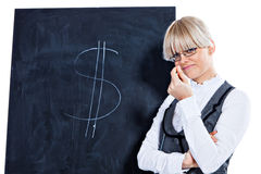 I can earn you some good money. Portrait of elegant business woman with chalk board on white background Stock Images