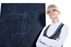 I can earn you some good money. Portrait of elegant business woman with chalk board on white background Royalty Free Stock Photography