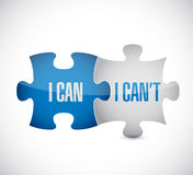 I can and I can't puzzle pieces sign Stock Images