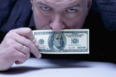 I can not say anything. The mouth of a man closes with US Dollar Stock Image