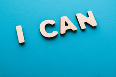I can phrase on blue background Royalty Free Stock Image