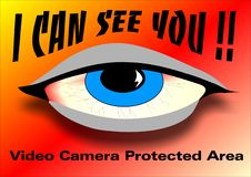 I can see you. Created in Coreldraw10. warning sign for camera protected area's Stock Images