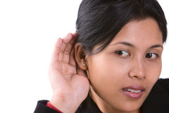 I can't hear what you say. A woman trying to listen the sound around her Royalty Free Stock Images