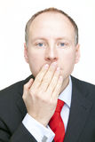 I can't say anything. Businessman covering his mouth. Secret royalty free stock images