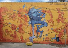 `I Can`t Stand My Own Mind` mural by Dan Colcer, Deep Ellum, Texas. Pictured is the `I Can`t Stand My Own Mind` mural, one of the wall murals of the 42 murals royalty free stock photo