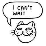 I can`t wait. Cute tomcat head. Speech bubble. Vector illustration. Royalty Free Stock Photo