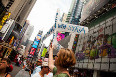 I can Really Use A Wish Right Now. New York City protest of Syrian invasion Stock Images