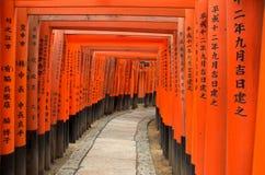 I cancelli di Torii di Fushimi Inari Shrine a Kyoto, Giappone Immagine Stock Libera da Diritti