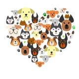 I cani affrontano nella cuore-forma illustrazione vettoriale