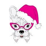 I cani di razza sono disegnati a mano Vettore del cane Insegua in cappello di Natale Bulldog francese Fotografie Stock Libere da Diritti