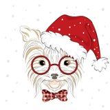 I cani di razza sono disegnati a mano Vettore del cane Insegua in cappello di Natale Yorkshire terrier Fotografie Stock Libere da Diritti