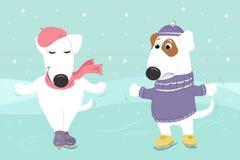 I cani in vestiti stanno pattinando sotto la neve Fotografie Stock Libere da Diritti