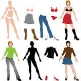 I capelli del modello della siluetta della donna calzano il guardaroba dei vestiti illustrazione vettoriale