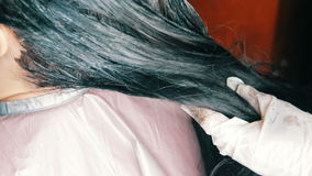 I capelli della donna ottengono il colore dall'apprettatrice dei capelli archivi video