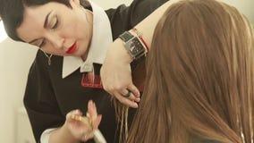 I capelli femminili di taglio del hsirdresser forniscono di punta durante il taglio di capelli della donna con le forbici nel sal stock footage